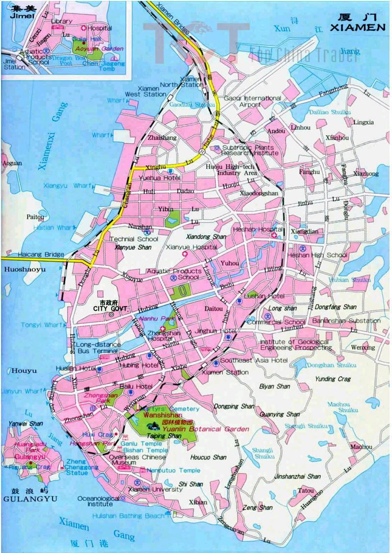 Xiamen maps map of xiamen china xiamen tourist mapsxiamen city map xiamen city map gumiabroncs Gallery