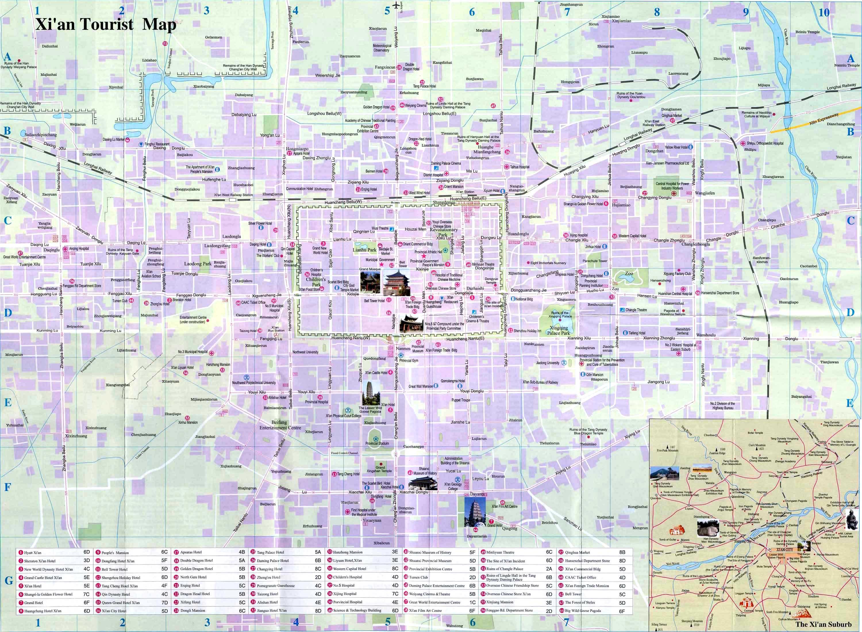 Xian Maps, Map of Xian China, Xian Tourist maps,Xian City Map