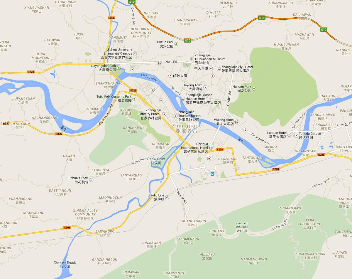 Zhangjiajie China Map on