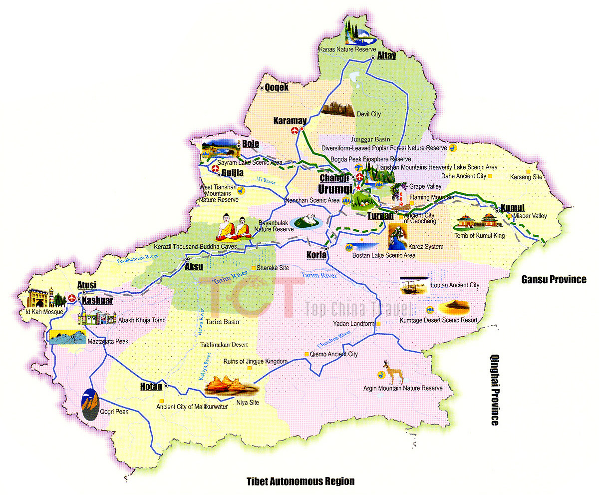 Xinjiang Maps Map of Xinjiang China Xinjiang Province Maps
