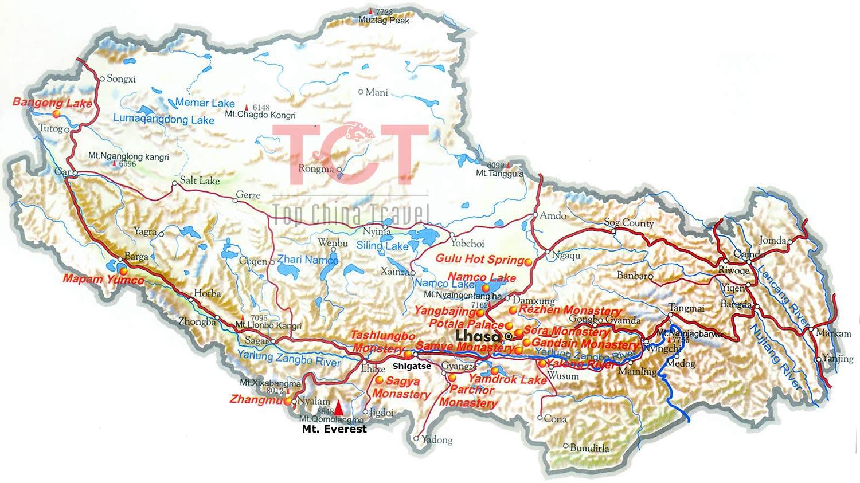Mount Everest Map, Map of Mount Everest, Mt. Everest Map